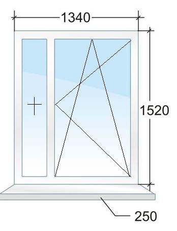 Двухстворчатое окно № 1
