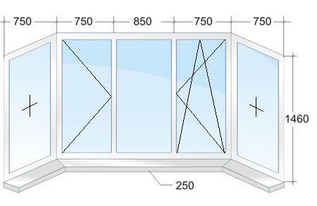 Большое окно с двумя эркерами № 1