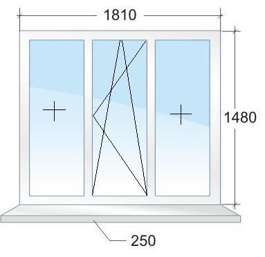 Трёхстворчатое пластиковое окно № 1