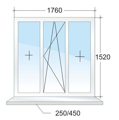 Трёхстворчатое пластиковое окно VEKA № 2