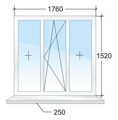 Трехстворчатое пластиковое окно в доме серии II-18 в Москве